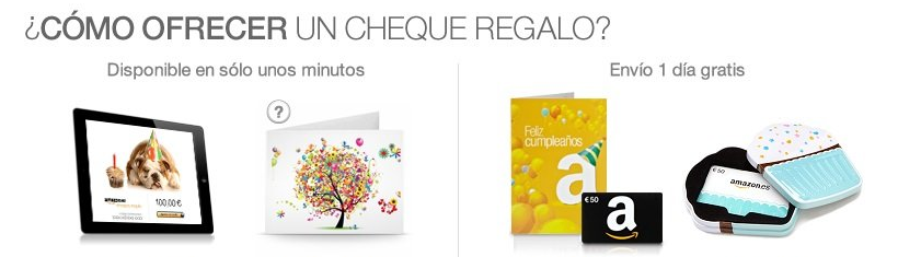 Ofrece un cheque regalo de amazon